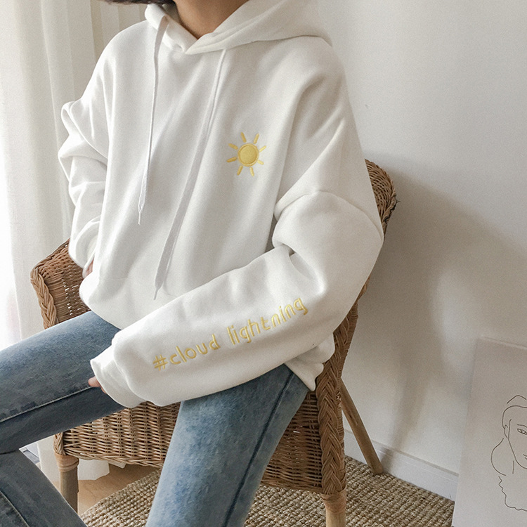 Sun Cloud Moon Letter Embroidery Drawstring Hooded Pocket Sweatshirt Korean Warm Fleece Hoodies Pulllover Loose Preppy Jumper pocket