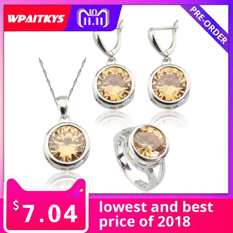 WPAITKYS Jewelry-Sets Earrings Rings Pendant Necklace Stones Round Silver-Color Women