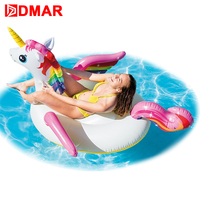 DMAR 200cm Inflatable Unicorn Ride On Giant Pool Float Toys Swimming Ring Circle Mattress Rideable Sea Lifebuoy Water Party