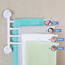 Four Arm Towel Holder Rotating Rack  Waterproof Bathroom Kitchen Wall-mounted Hanger Plastic Suction Cup Bar