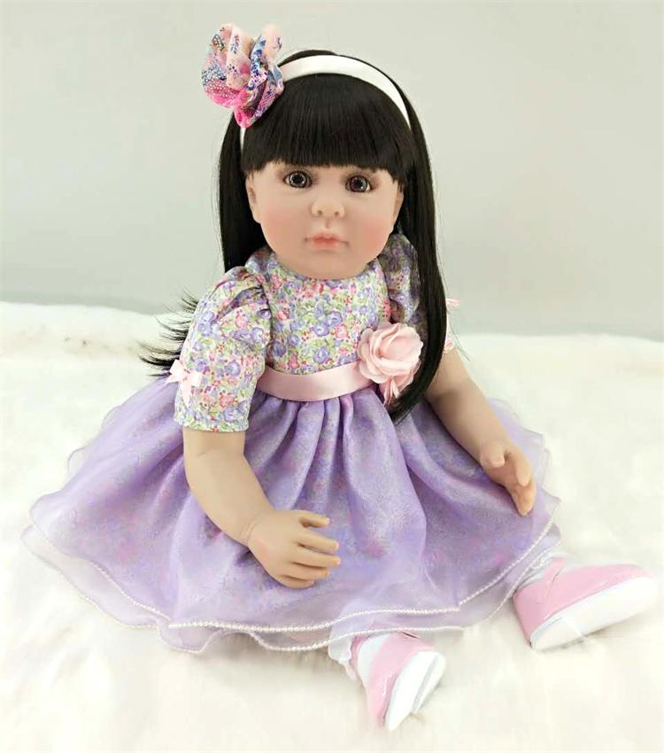 Pursue 24/60 cm Purple Dress Black Hair Silicone Reborn Toddler Baby Girl Dolls Toys for Girls Boys Birthday New Year Gifts Toy цена