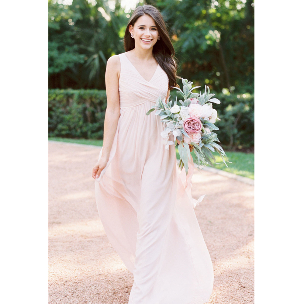 Light Pink Pleat Chiffon   Bridesmaid     Dresses   2019 V Neck A Line Floor Length Elegant Long Cheap Wedding Party Gowns Plus Size