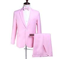Мужской костюм весна и осень Новый ярко розовый мужской костюм из двух предметов (куртка + брюки) мужской тонкий модный формальный банкетный