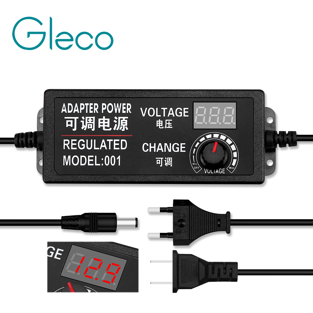 Adjustable AC to DC 3-12V 3-24V 9-24V voltage Regulated adapter with display screen Universal power supply adapter EU/US Plug image