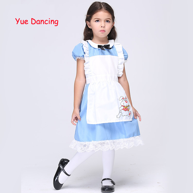 New Arrival Kids Clothes Halloween/Christmas Cosplay Costumes Girls Princess Dress Alice Maid Performance Dance Wear For Sale