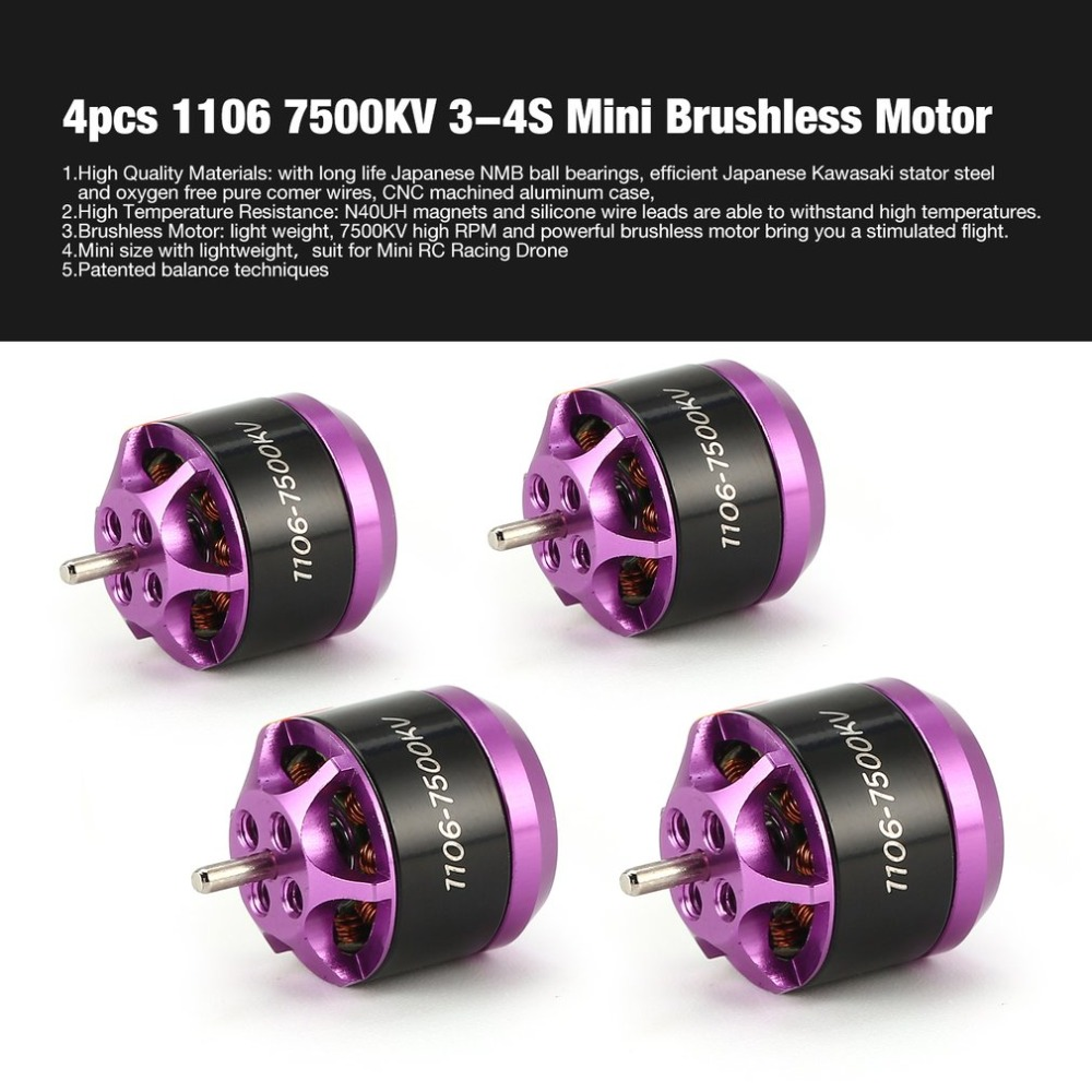 4pcs 1106 7500KV 3-4S Mini Brushless Motor For RC Remote Control FPV Racing Drone Multicopter Propeller DIY Spare Part