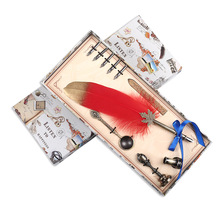 European Style Dip Water Feather Pen Gift Set Vintage Multicolor Fountain Creative Birthday Present Signature