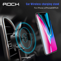 ROCK QI Car Wireless Charger Phone Stand For IPhone 8 X Samsung Galaxy S8 Note 8