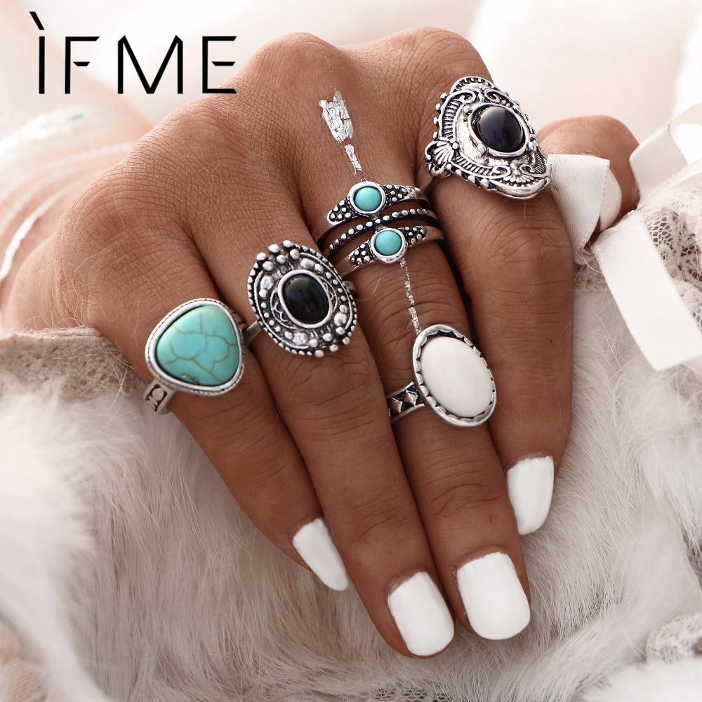 """IF ME 5PCS / rinkinys """"Vintage Bohemian Synthetic Big Stone Retro"""" sidabro spalvos žiedo rinkiniai Boho karoliukai Žiedai Merginos moterų papuošalų krepšiai"""