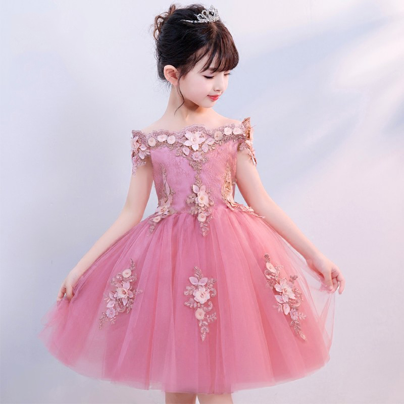 цены Shoulderless Flower Girl Dresses for Wedding Appliques Ball Gown Holy Communion Dress for Little Girls Prom Dress Birthday Gowns