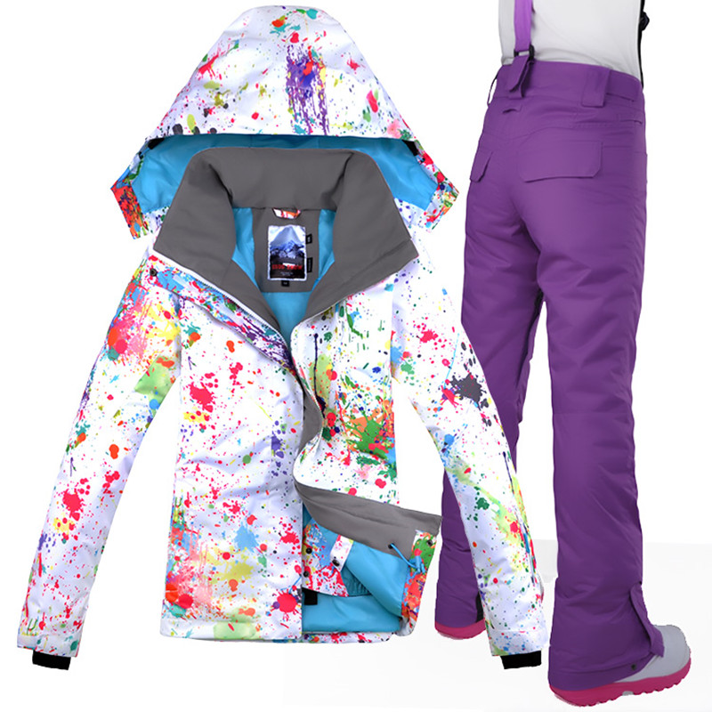 2017 Woman Ski Suit Thicken Thermal Winterproof Waterproof Skiing Snowboard Jacket+Pant Outdoor Sport Wear Camping Riding Suit