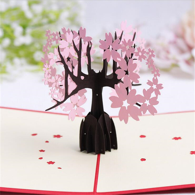 5Set Casamento 3D Christmas Gift Cards Cherry Tree Handmade Decoupage Creative Kirigami Origami Greeting