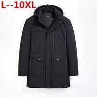 2018 новый большой 8XL 7XL 6XL 5XL 2018 большой Размеры теплая верхняя одежда зимняя куртка Для мужчин ветрозащитный капюшон Для мужчин куртка теплая ...