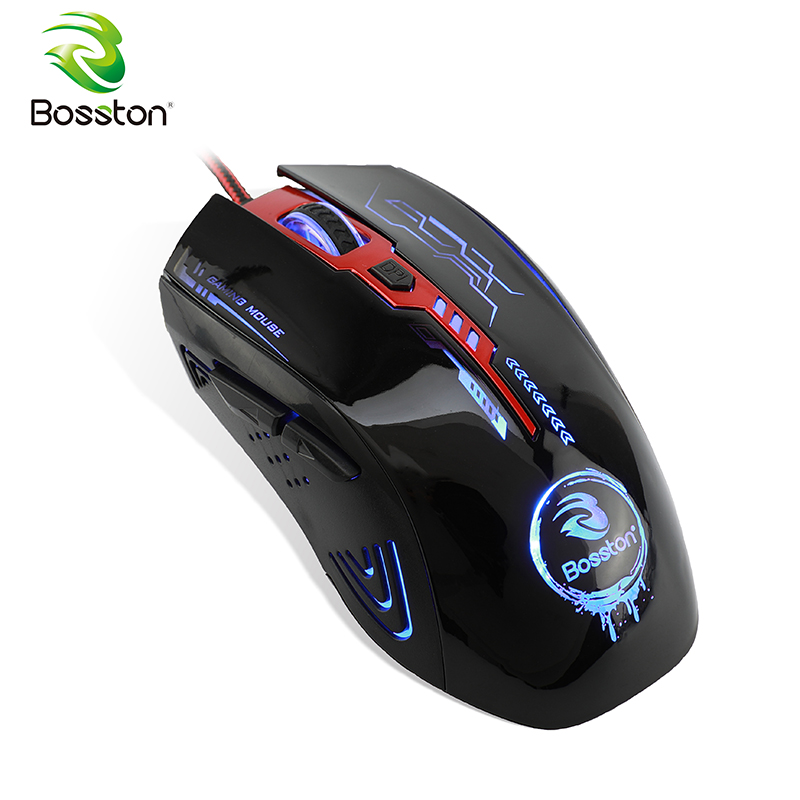 Bosston Gaming Mouse with Breathing Light 6 Keys 2400DPI Optical PC Computer USB Mice for Laptop Desktop GM200