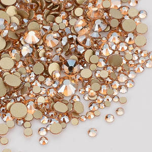 Image 2 - Mix Size Champagne Effects Flat Back Rhinestones For Nail Arts and Crafts