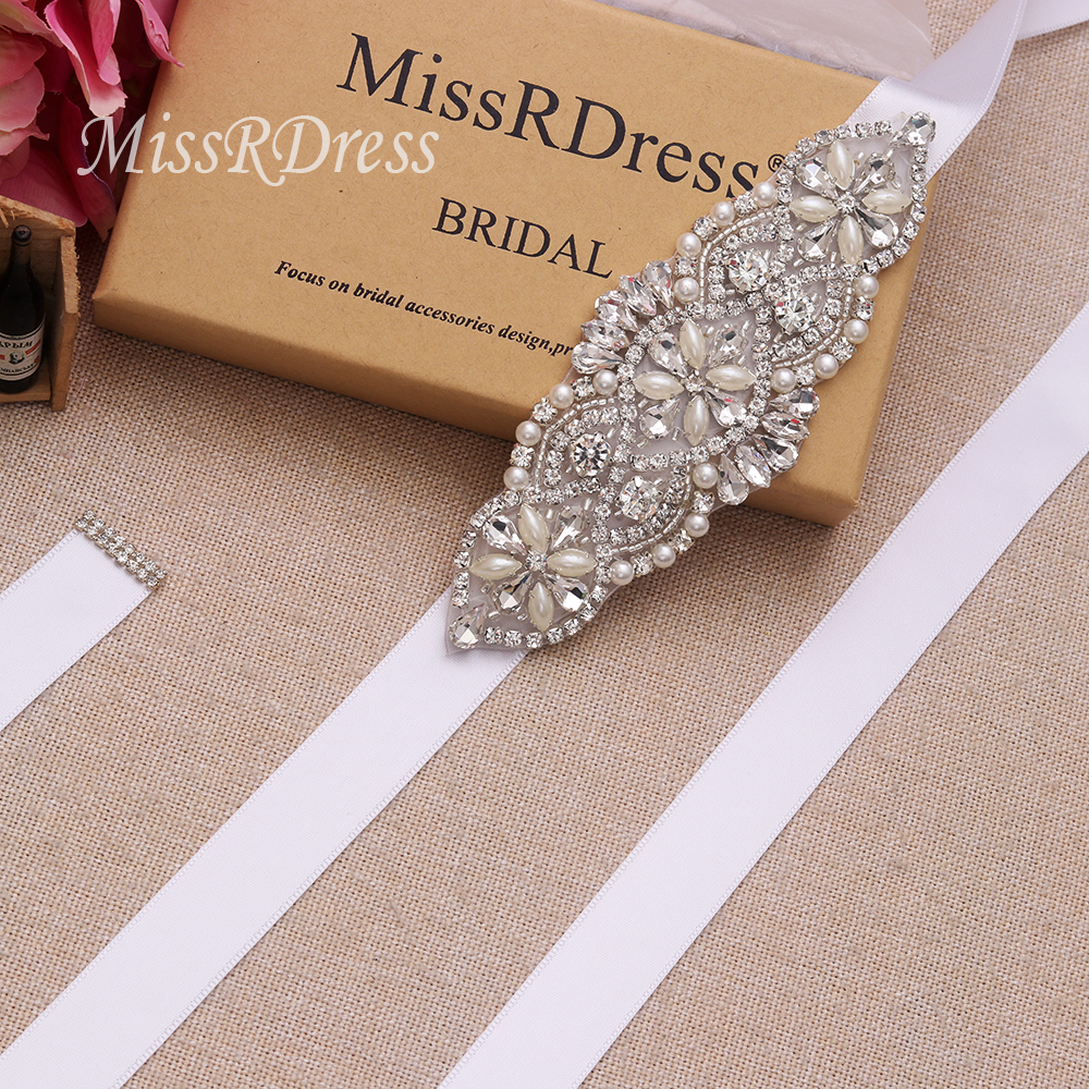 MissRDress Crystal Pearls Bridal Belt Hand Beaded Wedding Belts Silver Rhinestones Bridal Sash For Wedding Dresses JK848