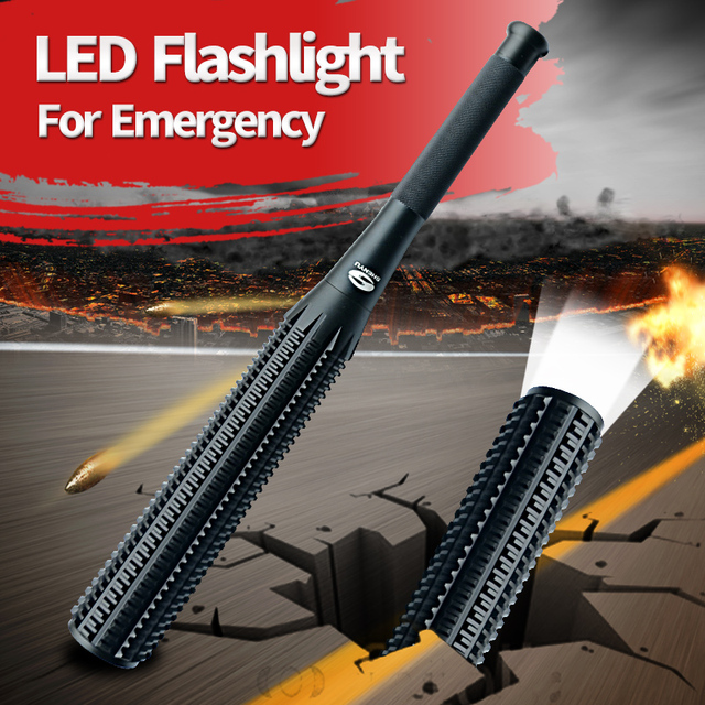 SHENYU Honkbalknuppel Foelie Vormige LED Zaklamp voor Veiligheid en Zelfverdediging Ultra Heldere Baton Zaklamp Ass Kicker