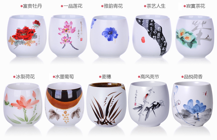 10Pcs/Set Creative Ceramic tea cup Drum coffee Cup ice crack teacup Furniture Accessories