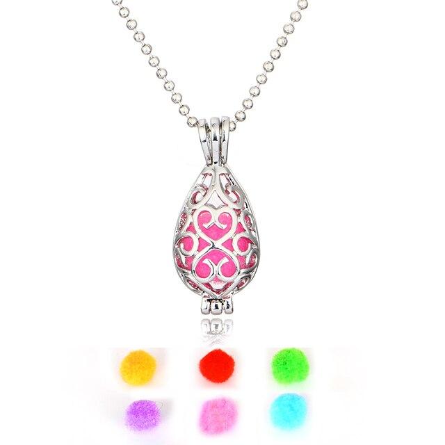 (Keimi) New Design Women Aromatherapy Locket Diffuser Necklace Hollow Little Mermaid Water Drop Teardrop Locket Pendant Necklace