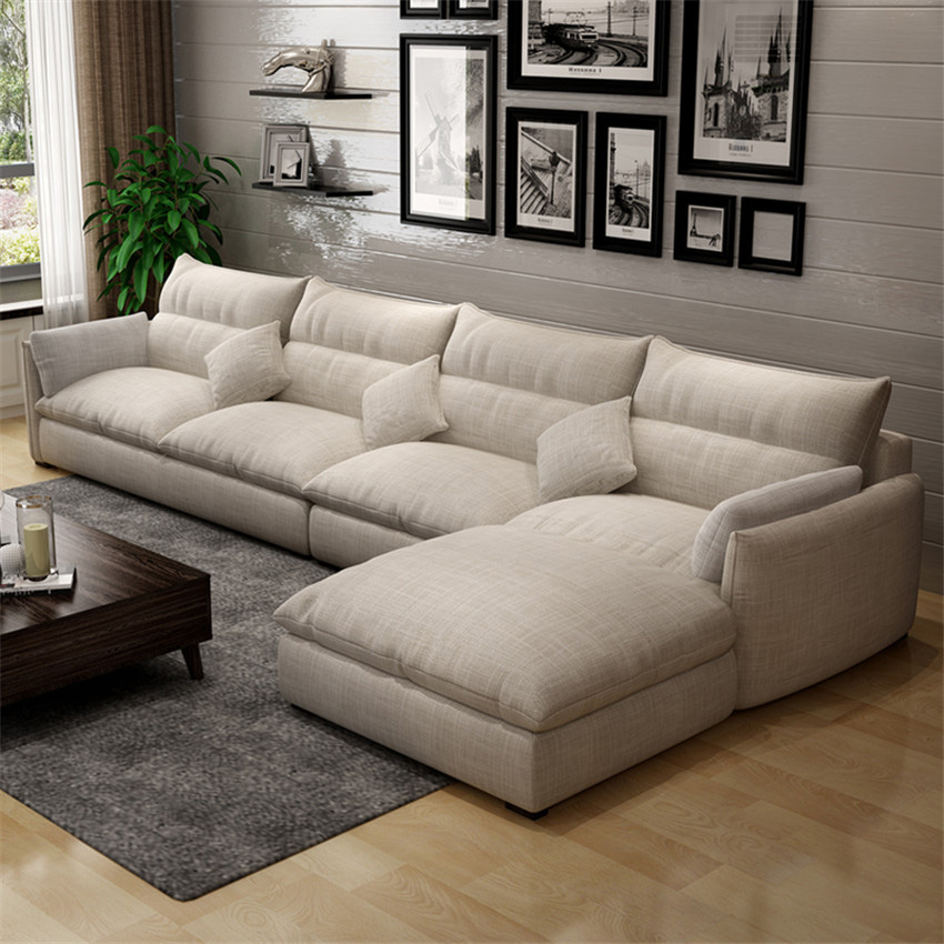 006 хлопок лен/ворс набор диванов секционный откидной диван для гостиной рама дивана комбинация губка/латексные частицы подушка