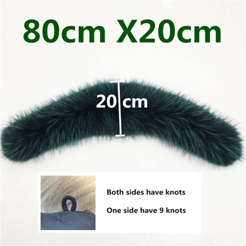 Натуральный меховой воротник, Зимний натуральный мех енота, женские шарфы, пальто, шарфы, роскошная Мужская парка, женская теплая 60 см, 70 см, 80 см,#2 - Цвет: Curve 8020 Green