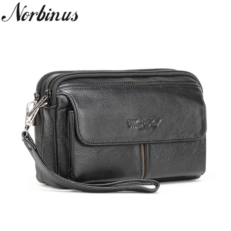 Norbinus Men Wallets Genuine Leather Clutch Bags Business Zipper Long Wallets Real Skin Phone Pouch Coin Purse Male Handy Bag цена