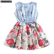 2d3a34e14c CHINGROSA Baby Girls Dress Floral Denim Patchwork Dress Princess Cute Mini  Summer Dresses Girls Small Kids Clothing Vestidos