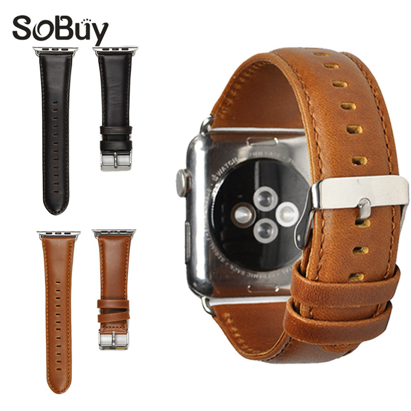 IDG for Apple Watch leather strap iwatch wrist strap 42mm bracelet 38mm watch bands series 1/2/3 stainless steel Cowhide band black men s sports bracelet genuine leather wrist watch bands connector adapter strap for 42mm 38mm apple watch band for iwatch