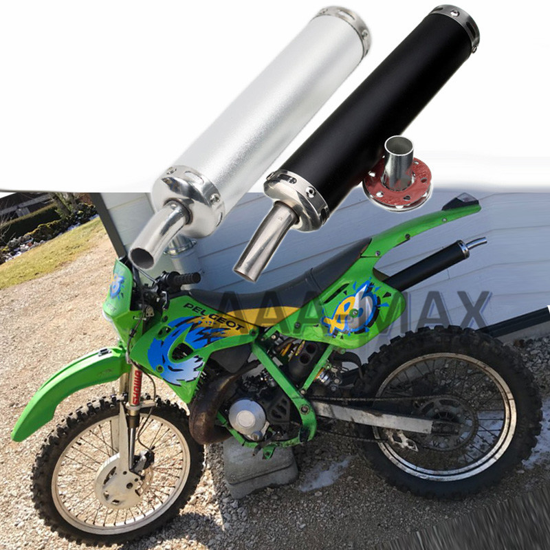 28MM Universal Motorcycle Racing Exhaust Muffler Silencer Pitbike GY6 Pipe Escape Moto Dirt <font><b>Pit</b></font> <font><b>Bike</b></font> <font><b>125CC</b></font> For Street Scooter image