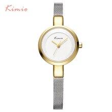 2016 Nueva CALIENTE Kimio mujer relojes de Acero Inoxidable de malla fina de Cuarzo pulsera relojes de pulsera de las señoras vestido reloj con el Regalo caja
