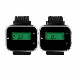 2pcs Wrist Watch Pager Receiver Black 433.92MHz Call Pager Waiter For Wireless Restaurant Ordering System Customer Service
