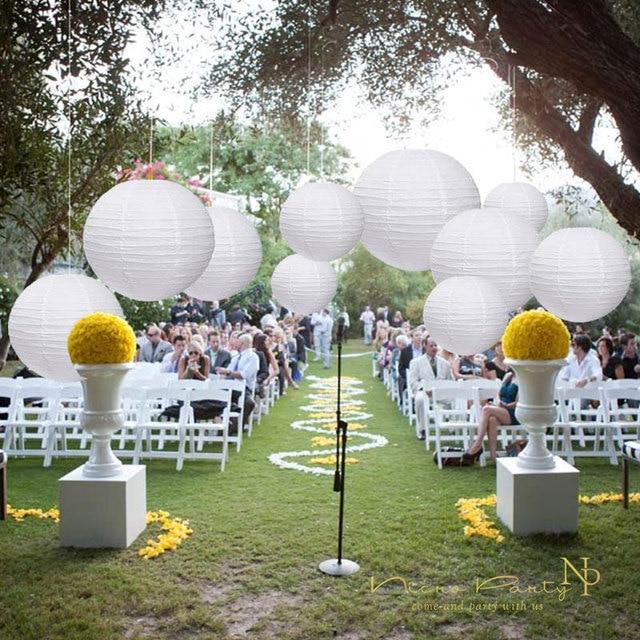 Nicro 10 Pcs/Set White Round  Paper Lanterns Lamp DIY Wedding Engagement Chinese Classical Lampion Crafts Decoration #LS01