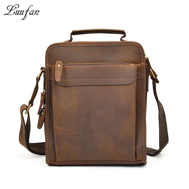 Uomo vintag Pazzo cavallo leather sacchetto di spalla zip vera pelle  messenger bag iPad borsa a 12b7cb1173f