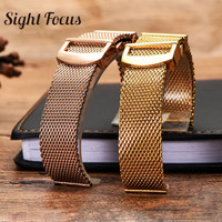 20mm 22mm Milanese Mesh Stainless Steel Watchband for IWC Portofino Portugieser IW356501 356505 Replacement Metal Bracelet Belt
