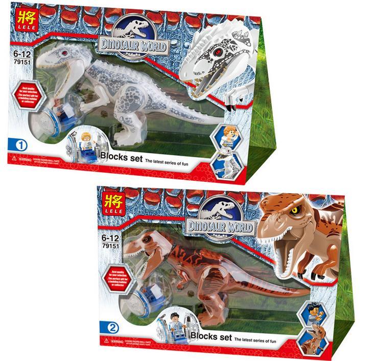 2 Pcs Jurassic World Indominus Rex T Rex Blok Bangunan Mainan
