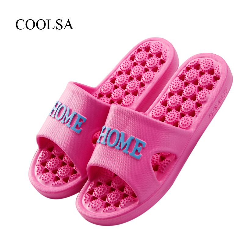 COOLSA Women's Summer Indoor Flat Solid Non-slip Massage Slippers Lightweight Lady Home Slippers Beach Slippers Women Flip Flops coolsa women s summer flat cross belt linen slippers breathable indoor slippers women s multi colors non slip beach flip flops