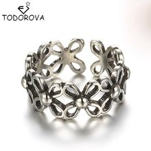 Todorova Elegant Daisy Flower 925 Sterling Silver Hand Rings for Women Wedding Band S925 Stamp Jewelry Vintage Friendship Ring(China)