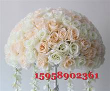 road flowers champagne centerpiece-ivory