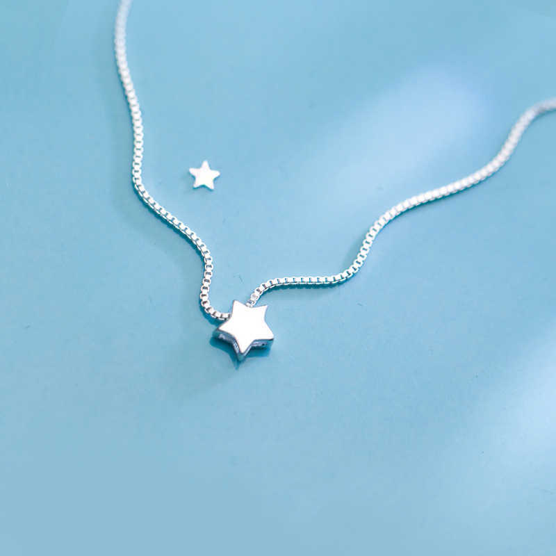 MloveAcc 925 Sterling Silver Star Charm Pendant Necklaces for Women Fashion Jewely Small Choker Necklaces Accessories