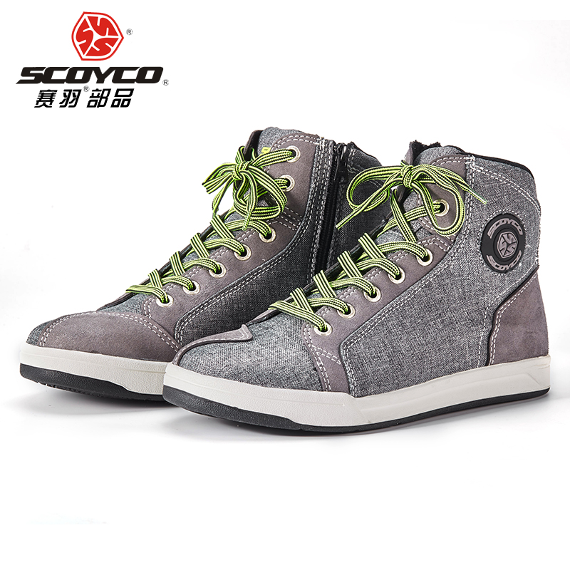 Original SCOYCO Motorcycle Boots Men Grey Casual Fashion Wear Shoes Breathable Anti skid Protection Gear Botas