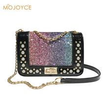 Women Sequin Pearls PU Leather Messenger Bags Shining Chain Shoulder Crossbody Handbags for Girls Fashion Bling