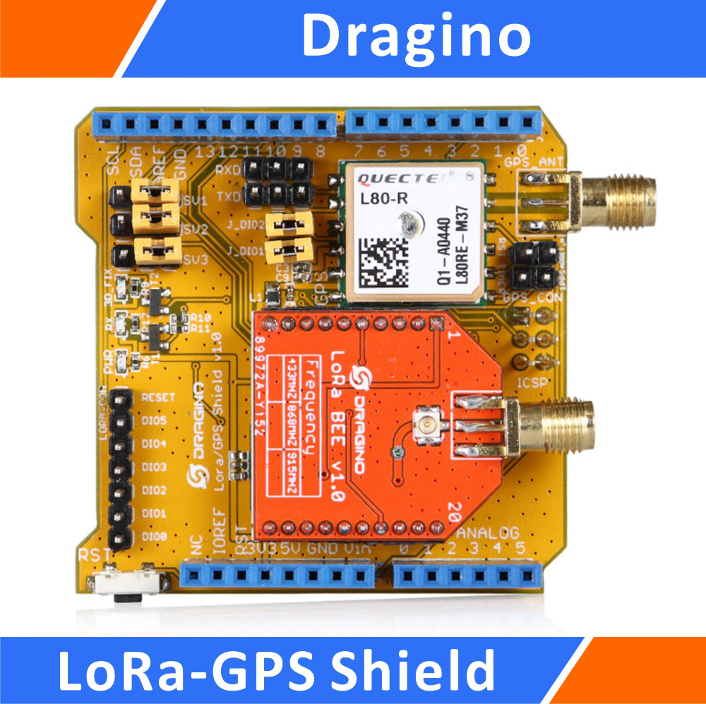 Dragino Lora-GPS Shield Long Range Transceiver and GPS Expansion Board Compatible for Arduino 915MHz bluetooth shield v1 2 expansion board for arduino works with official arduino boards