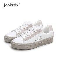 Jookrrix 2018 nuevo Casual blanco zapatos mujer marca zapatillas de cuero  Real señora chaussure otoño calzado 45513d4559b0