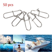 50pcs/lot High Quality Stainless Steel Hook Lock Snap Swivel Solid Rings Safety Snaps Fishing Hooks Connector