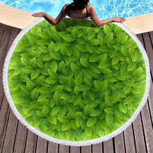 Boho Beach Towels Printed Green Leaves Towel Microfiber Round Fabric Bath For Living Room Home Decorative