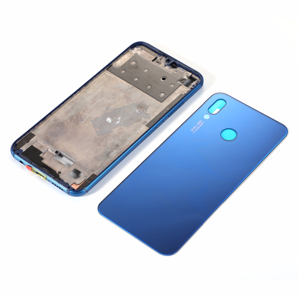For HUAWEI P20 Lite Nova 3E LCD Housing Middle Frame+Glass Battery Back Cover+Adhesive Sticker