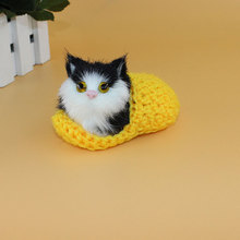 Children Plush Toys Knitted Lovely Simulation Cats With Press Sounding Baby Kids Birthday Gifts Home Decoration YJS Drop
