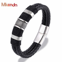 MKENDN Multilayer Braid Genuine Leather Bracelet Titanium Stainless Steel Bracelet Men Woven Bangle Punk Jewelry Pulseras