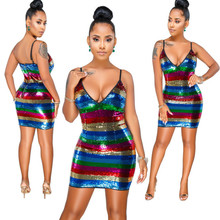 sexy bodycon backless sequin dress rainbow glitter suspender patchwork mini slim dresses vestido jurken club short 2018