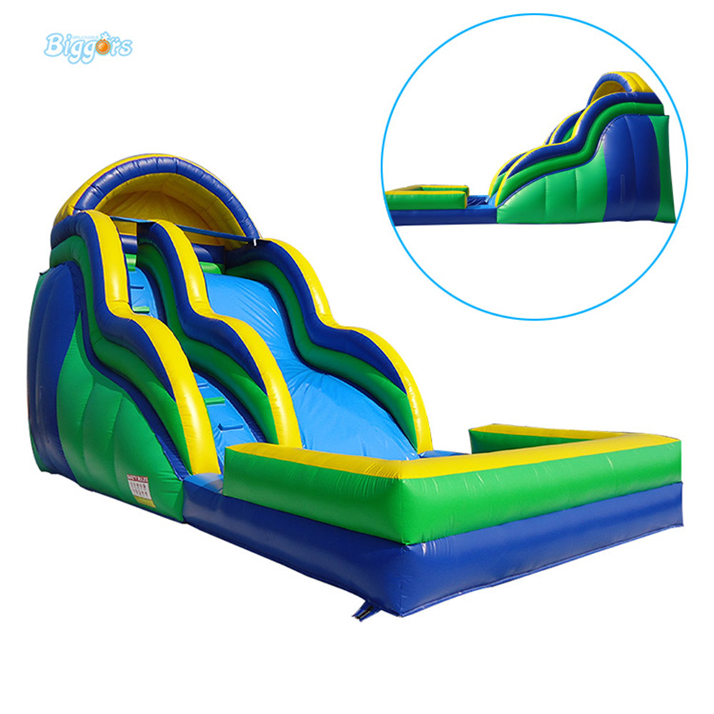 Blow Up Hot selling inflatable water slide with pool inflatable slide children shark blue inflatable water slide with blower for pool